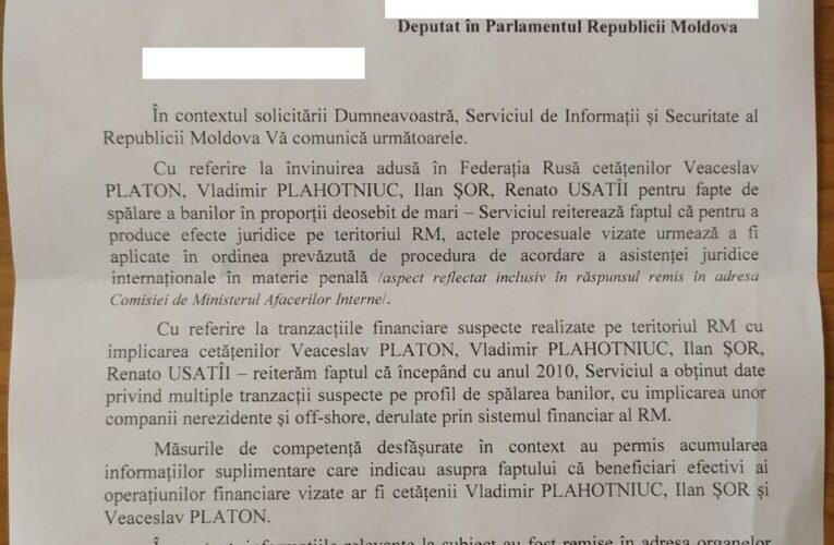Serviciul de Informații și Securitate (SIS) din Republica Moldova: Plahotniuc, Platon, Șor și Usatîi ar fi implicați în Laundromat